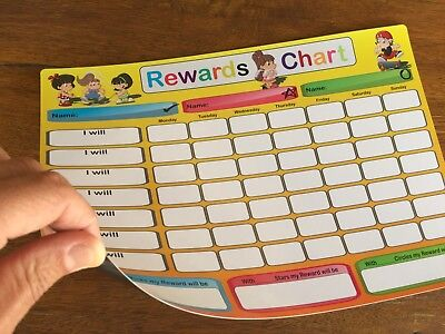 A4 Rewards Chart Child Family Weekly Jobs Chores Whiteboard Fridge Magnet +2Pens
