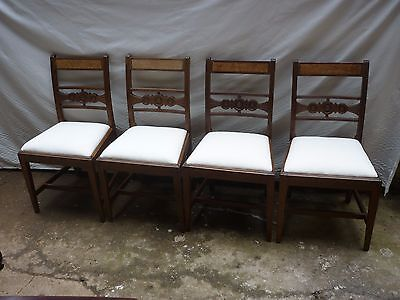 A set of four late victorian dining chairs. upholstered in calico. 3