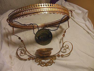 Antique Hand Painted Milk Glass & Ornate Brass Hanging Kerosene Lamp Chandelier