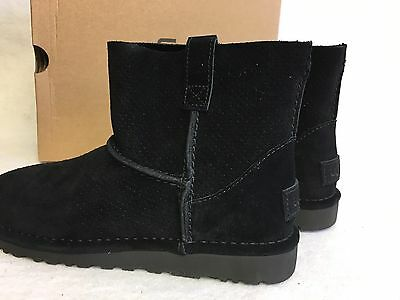 278dd469060 UGG AUSTRALIA UNLINED Classic Mini Perf Suede Boots 1016852 Black Womens  Spring