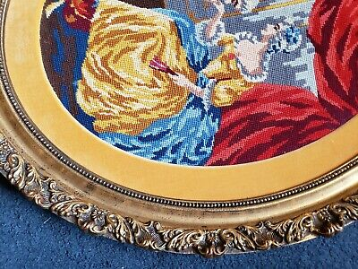 Antique Victorian Oval Wood Gold Gilt very ornate Frame EMBROIDERED Man n woman 9