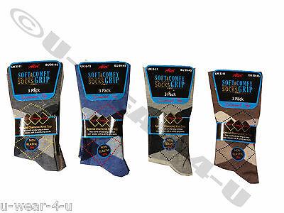 12 Pairs Pack Mens Aler Non Elastic Socks Diamond Top Argyle Light Dark Comfy 3