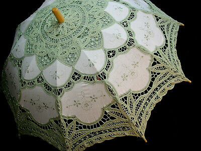 CottonBattenberg Lace Parasol Sage Green and off wht Victorian Edwardian style 4