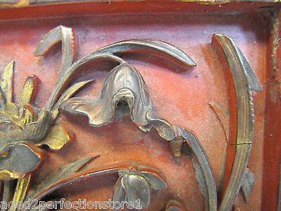 Antique Asian Hand Carved Panel red gold paint flowers bird wall architectural 5