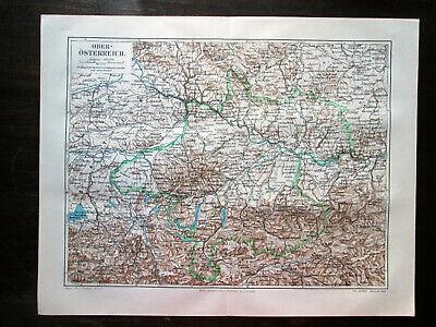 Antique map. UPPER AUSTRIA. 1906 2