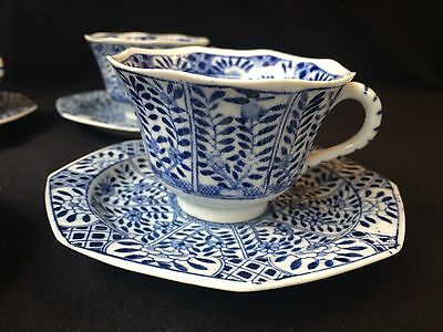 4 19C Chinese Porcelain Cup & Saucer Blue White 'Flowers' Antique Kangxi Marked 3