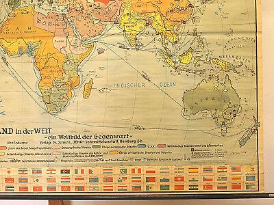 Schulwandkarte schöne alte Erde Weltkarte Deutschland 234x157c vintage map ~1955 7
