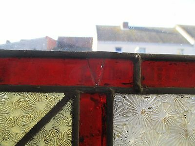 "Reclaimed Coloured leaded stained glass panels 44"" x 14 1/2"" 3"