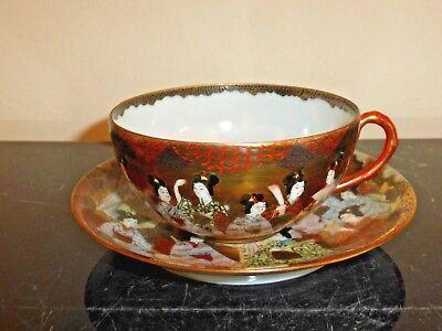 "Antique Japanese Kutani Porcelain GEISHAS Cup Signed ""Dai Nippon Nakamura"" 4"