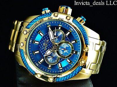 Invicta Men's 50mm SPEEDWAY SCUBA Chronograph Sapphire Blue Gold Tone SS Watch 3