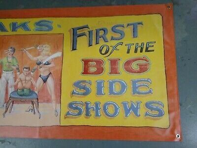 Vintage Freakshow  Sideshow  Circus Fair Carnival   Block Head    Banner