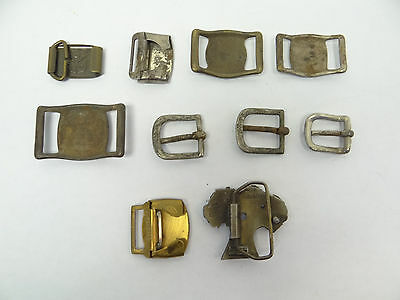 Mixed Antique & Vintage Lot Metal Brass Iron SK Allison Belt Buckles Military 9