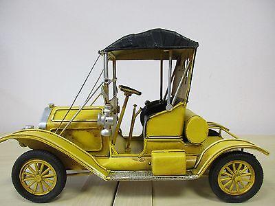 33cm Blech-Modell antike Rennmaschine gelb Oldtimer ca