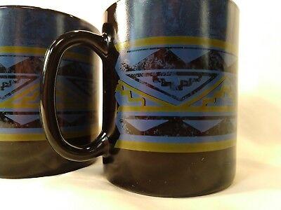 Set of 2 Arcoroc France Black Yucatan Coffee Mug Blue Southwest Aztec Design 3