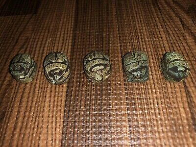 Five ( 5 ) Antique Egyptian Carved Stone Faience Scarab Beads Pendants 2
