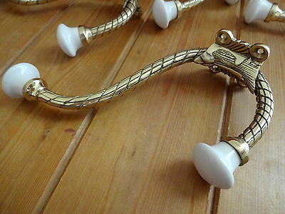 Set Of 5 Large Brass Victorian Style Coat Hooks 2