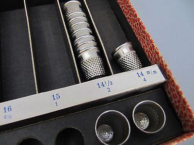 alter IMRA Fingerhut Sortimentskasten mit 11 Fingerhüten - selten