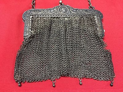 Antique Greek Pewter Womens Purse Alpacca Handbag Ladies Greece Grecia Peltro 4