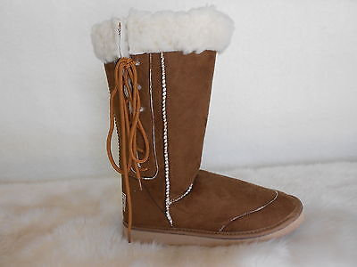 Ugg Boots Tall, Synthetic Wool, Lace Up, Size 9 Lady's/Men's 7 Colour Chestnut