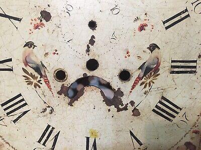 Antique Tall Case Clock Face Dial Folk Art Decorated Birds Blue Jays Flowers 2