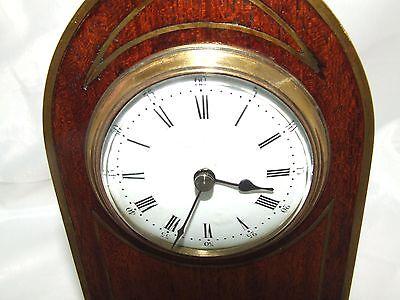 Antique Brass Inlaid Mahogany Miniature Bracket Mantel Clock CLEANED & SERVICED 5