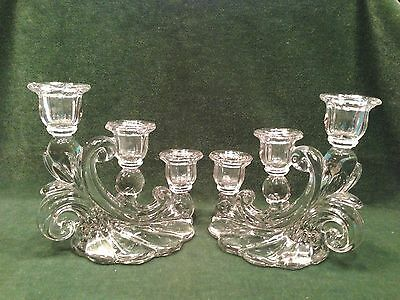 2 of 5 1940s pair of cambridge glass 3 light crystal candlesticks gadroon pattern - Cambridge Glass