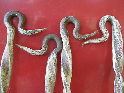 4 Antique Cast Iron Forged Stake Hardware Nail Hook Barb Wire Garden Pole Spike 4