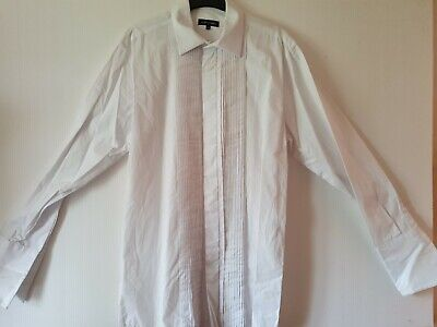 Mens Austin Reed White Long Sleeved Pleat Fronted Cotton Shirt Size 16 5 L 10 00 Picclick Uk