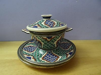 Antique Iznik ? Turkish ? Ottoman ? Pottery Plate Bowl + cover dish silver rim 12