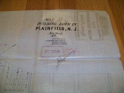 1853 Map Plainfield NJ Stillman Rogers Vosseller Sauerwein Cedar Brook 2