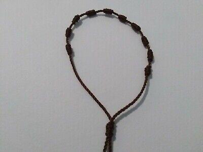 Single Decade Rosary Bracelet Handmade With Nylon Cord (Color Brown) Decenario 3