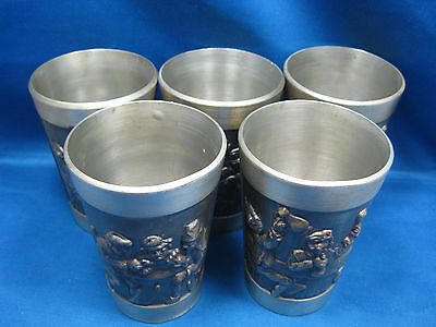 "Lot of Five 4 1/4"" Antique  German Solid Pewter Embossed & Engraved  Cups Nice"