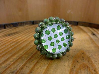 4 GREEN SUN FLOWER GLASS DRAWER CABINET PULLS KNOBS VINTAGE chic garden hardware 4