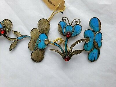 Antique Chinese blue Kingfisher feather hair stick pin ornament 3