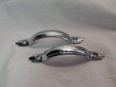 2 Silver Metal Drawer Pulls VIntage Retro