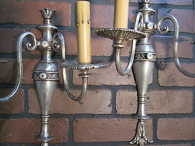 Vintage Antique Pair Wall Sconces Silver Plate 2 Arm Wall Lights 2
