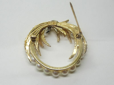 Designer Vintage 1960s Estate Pearl Diamond 14k Yellow Gold Wreath Brooch Pin 5