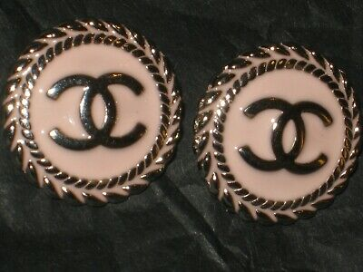 CHANEL  2 AUTHENTIC LIGHT  PINK  SILVER cc 14 MM BUTTONS THIS IS FOR TWO 2