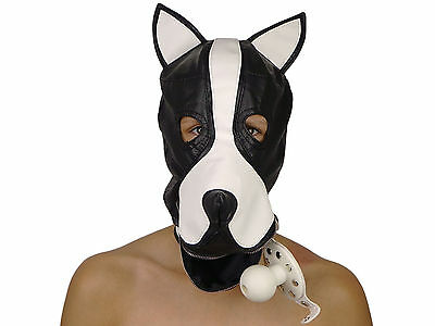 Petplay Hundemaske mit Knebel schwarz weiß Hunde Maske Hund Ledermaske ArNr.2777 4