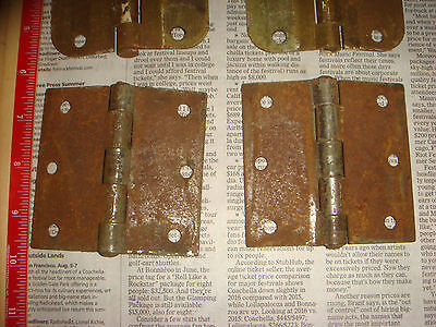 "4 Vintage Brass Plated Button Hinges 3 & 1/2"" , 2 pairs, Very Nice Old Hardware 6"