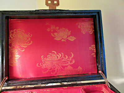Vtg Asian Chinese Ebony Wood Jewelry Box White Jade Medallion Brass Mounts 7