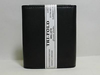 Rfid Block Mens Leather Trifold Wallet Id Card Holder Plain Coin Zip Pocket 4