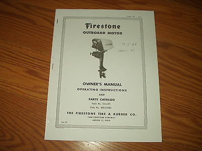 SCOTT-ATWATER OUTBOARD MOTOR OWNERS PART MANUAL~7.5-OR12 HP~1960-61 FIRESTONE