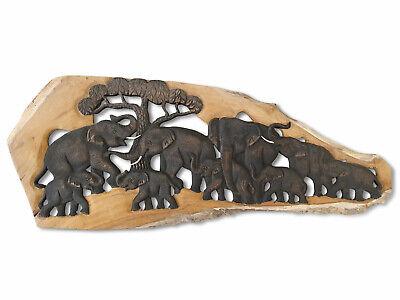 Elephants Tête Relief Mural Bois Massif Éléphant D/'Animal Décoration Thai