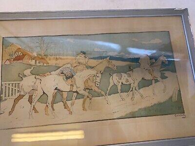 Francés Antiguo Art Nouveau Enmarcado Firmado Hombre Caballo a Caza / Play Polo 2