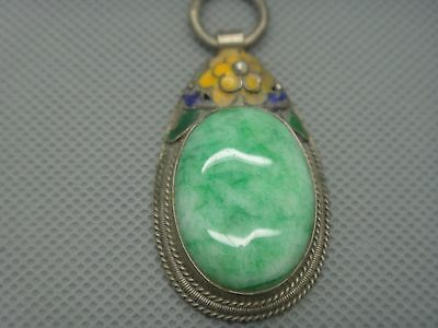 Collectibles Old Decorated Handwork tibet Silver Inlay Jade cloisonne Pendant01 6