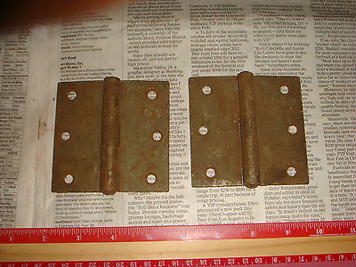"4 Vintage Brass Plated Button Hinges 3 & 1/2"" , 2 pairs, Very Nice Old Hardware 7"