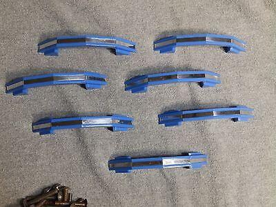7 Vintage Blue Chrome Cabinet Door Drawer Pulls Old Hardware NOS With Screws 4