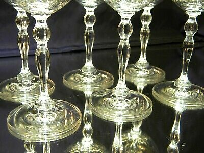 SET of 6 BEAUTIFUL Large Clear Water Wine Goblets Glasses 7