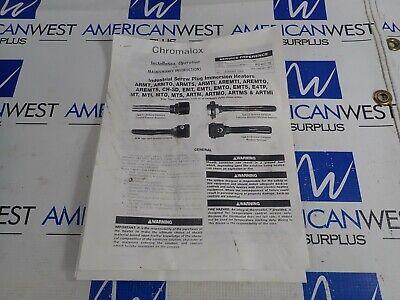 Chromalox Armt0-110E2Ts 120V 1Kw 1Ph Immersion Heater P# 500544549 *New* 6